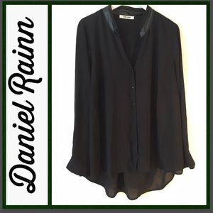 Sheer Button-up Blouse with Faux leather collar